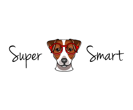 Jack Russell Terrier in smart red eyeglasses. Dog geek. Super smart lettering. Standard-Bild - 104558407