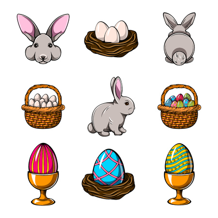 Easter design elements set. Bunny, Colorful eggs, basket, bird nest. 일러스트
