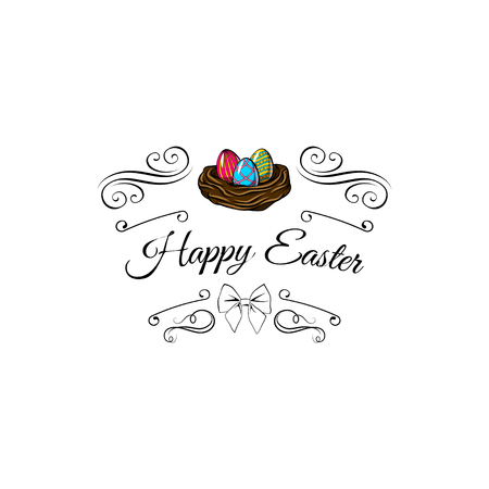 Easter colorful painted eggs in nest. Inscription Happy Easter, swirls, bow. Vector illustration.