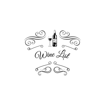 Bottle and wineglass icon. Wine list design with swirls and flourish elements. Alcohol menu. Vector illustration.