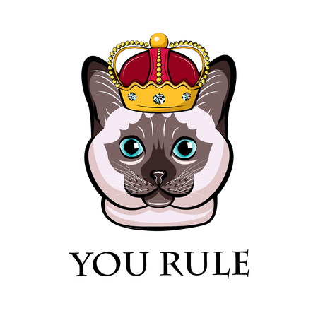 Cartoon cat in crown. Siamese cat, Thai cat. You rule lettering. Vector illustration. Иллюстрация