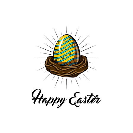 Cute Easter greeting card, bird nest and color eggs in beams. Zdjęcie Seryjne - 104655147