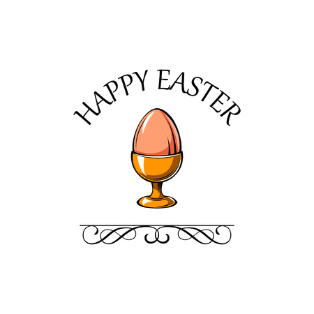 Easter Egg cup. Egg holder. Happy Easter. Vector illustration with swirls and filigree elements.