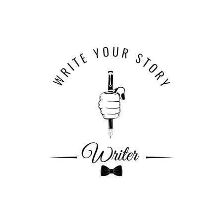 Writer s badge. Hand writing with a feather. Vintage pen, bow tie. Vector illustration isolated on white background. Write your story text. Feather in fist.