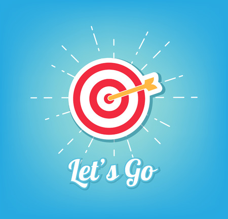 Target with arrow. Lets Go lettering. Vector illustration in beams isolated on blue background. Illustration