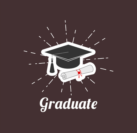 Graduation cap and diploma in beams. Vector illustration.