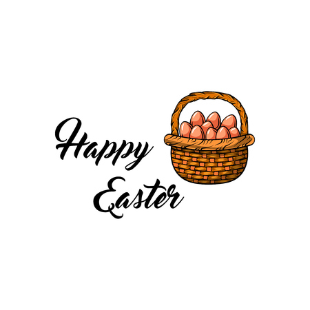 Wicker basket with Easter eggs. Happy Easter lettering. 免版税图像 - 104558501