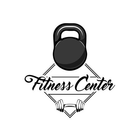 Fitness center logo concept label emblem.