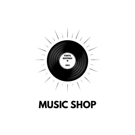 Retro vinyl music logo concept design.  イラスト・ベクター素材