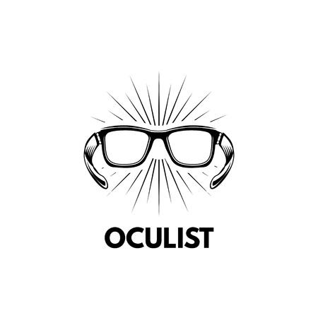 メガネアイコン、オキュリストロゴコンセプトデザイン。  イラスト・ベクター素材