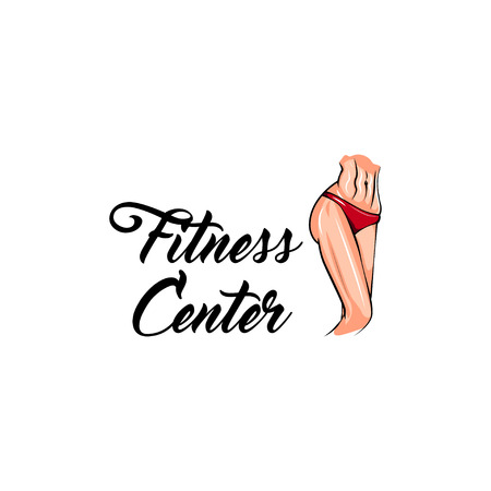 Fitness center logo concept label design illustration.