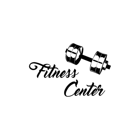 Fitness center symbol logo label emblem illustration.