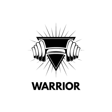 Dumbbell in triangle emblem icon with warrior inscription. Illustration