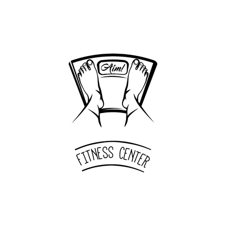 Feet on weighing scales. Fitness center logo label emblem. Vector illustration isolated on white background.