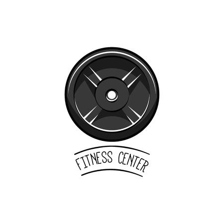 Dumbbells Weight. Fitness center logo label emblem badge. Sport symbol. Vector illustration isolated on white background. Ilustração