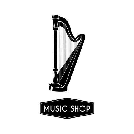 Harp icon illustration.