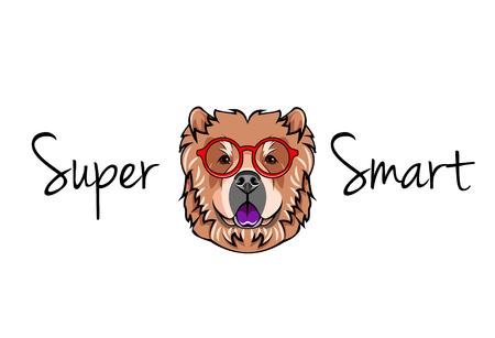 Chow chow dog geek. Dog in Smart glasses. Super smart inscription. Vector illustration.  イラスト・ベクター素材