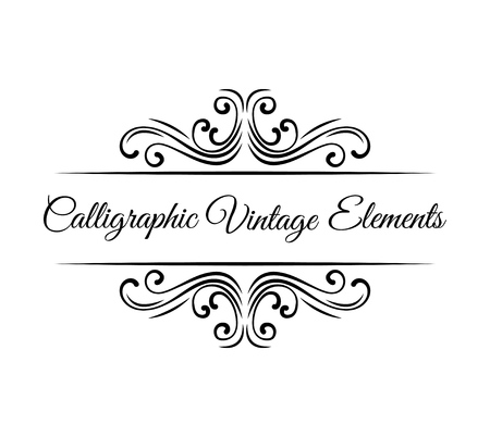 Calligraphic design elements. Vintage Vector Ornaments Decorations Design Elements.  イラスト・ベクター素材