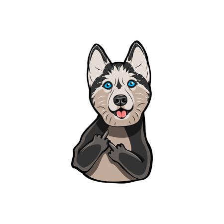 中指でシベリアハスキー。犬の品種。ジェスチャ。白い背景に分離されたベクトル図。