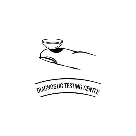 Contact lens on the finger. Diagnostic testing center inscription. Vector illustration. Symbol design from Medical collection. Vector illustration. 向量圖像