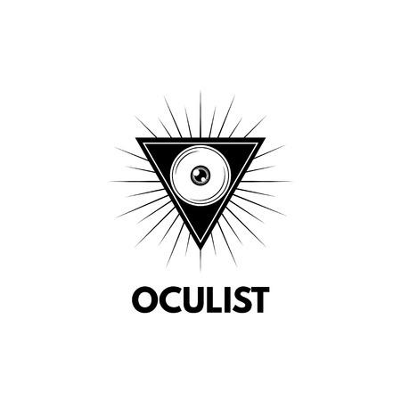 Eye in triangle, ophthalmology logo concept illustration. Archivio Fotografico - 97988962