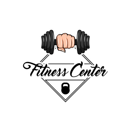 Dumbbell in fist. Gym weightlifting and fitness sport club emblem.