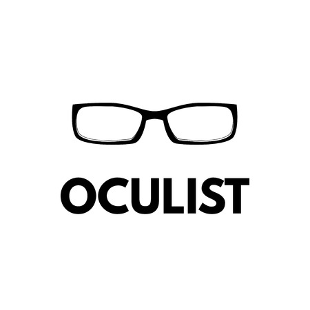 Eyeglasses icon. Glasses. Oculist inscription. Vector illustration isolated on white background.