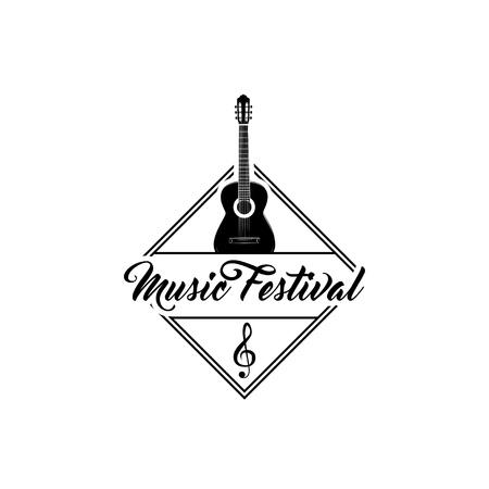 Music Festival logo label emblem illustration.