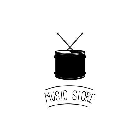 Drum, musical instrument, drumming. Vector illustration. Music store icon label emblem Illustration