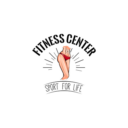 Womans waist icon. Fitness center label. Sport for life inscription. Vector illustration. Illustration