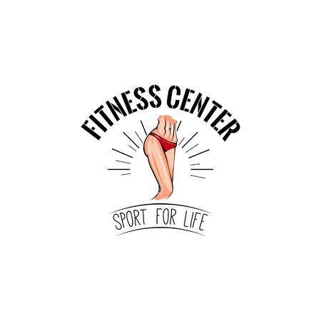 Womans waist icon. Fitness center label. Sport for life inscription. Vector illustration. 向量圖像