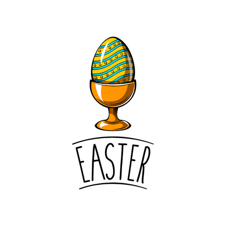Easter colorful painted egg in stand. Happy easter day card. Egg holder. Vector illustration. Çizim