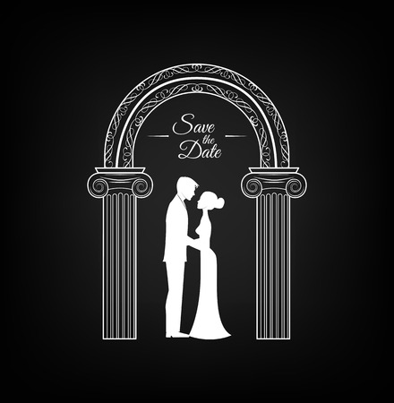 Wedding arch with bride and groom vector illustration for Wedding invitation and decoration.