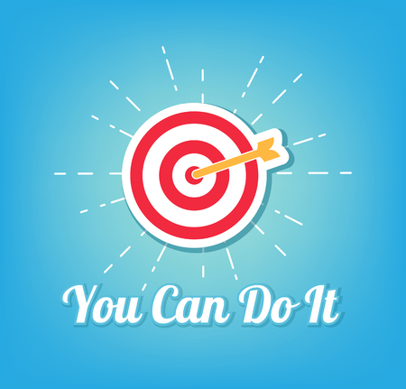 Target icon logo concept design with you can do it inscription.