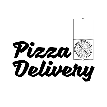 Pizza delivery. Pizza box template. Italian food. Pizza cuisine. Vector illustration Banque d'images - 97688632