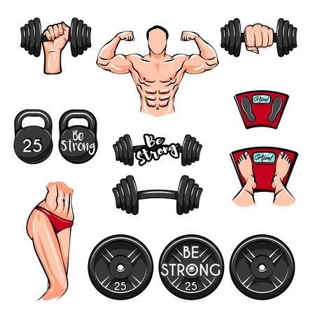 Fitness icon set. Illusztráció