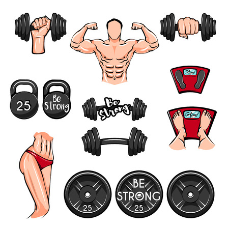 Fitness icon set. Illustration