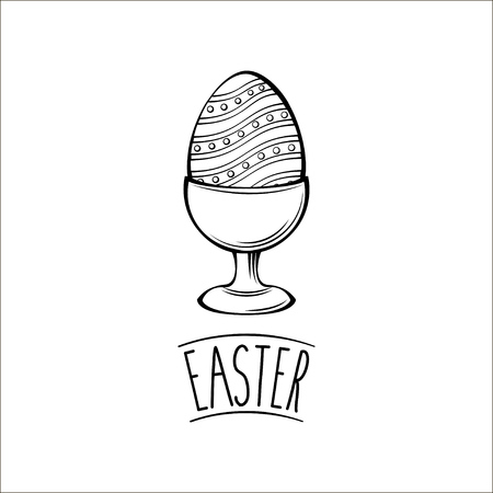 Painted egg. Easter egg holder, egg-cup. Happy easter day greeting card. Vector illustration. Stock Vector - 97688633