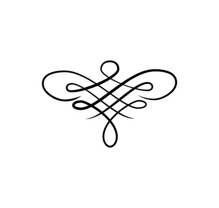 Ligne de défilement, tourbillon de calligraphie, illustration de décoration de motif en filigrane orné. Banque d'images - 97989298