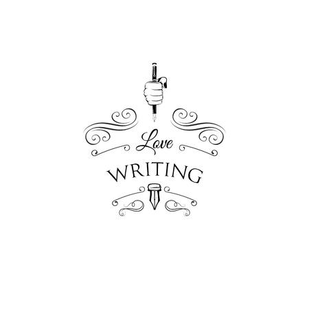 Pluma pluma en puño. Escribir logotipo de la muestra. Inscripción de escritura de amor. Ilustración de vector con decoraciones vintage. Remolinos, marcos ornamentados.