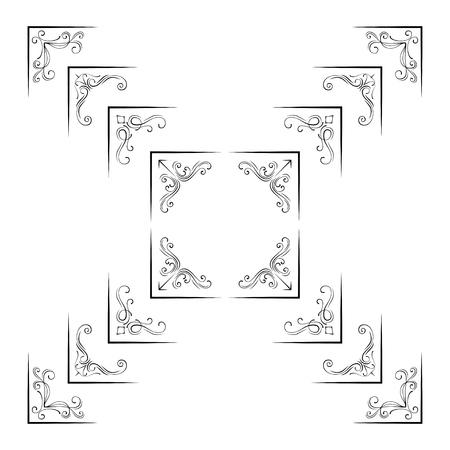 Vintage filigree flourish ornamental corner elements.