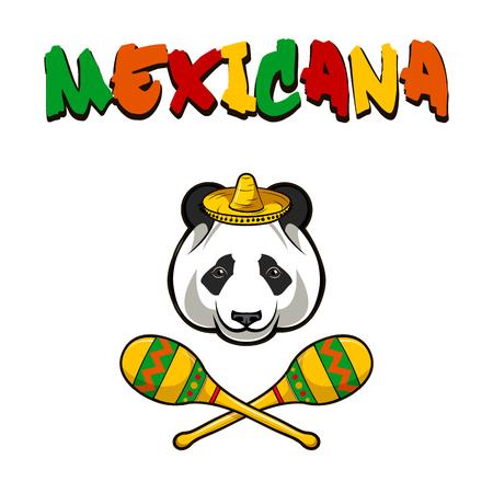 Panda face with sombrero and maracas. Mexico. Mexicana inscription text. Vector illustration. Illustration