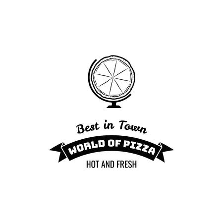 Pizza icon label emblem image illustration Illustration