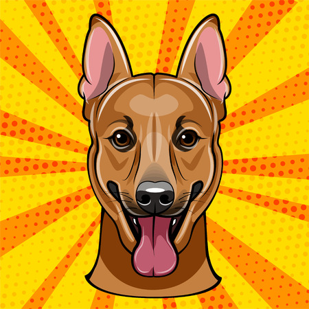 German Shepherd Dog portrait. Vector illustration isolated on colorful background.