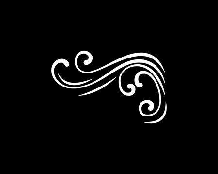 Abstract swirly corner with flourish filigree elements isolated on black background. Stock Illustratie