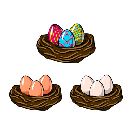 Painted eggs in nest set.