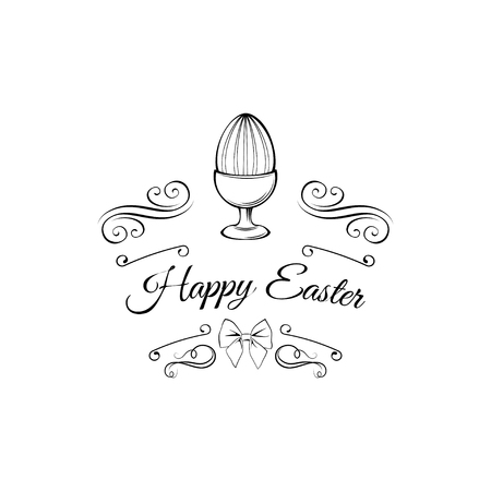 Easter day greeting card template with egg holder. Illustration