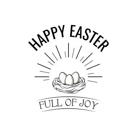 Happy Easter greeting card template with decorative nest design.