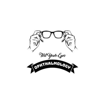 Optometrist logo. Glasses, Eyeglasses. Ophthalmology. Eye clinic, Ophthalmic clinic. Vector illustration Test your eyes inscription Illustration