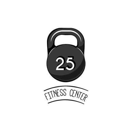 Barbell, Dumbbell. Fitness Logo, Sport label. Fitness center. Vector illustration isolated on white background Illustration